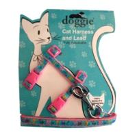 Doggie Patili Kedi Göğüs Tasması 22/36 cm Pembe