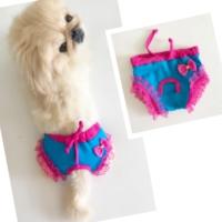 Kemique Lace Bow Blue Pınk Kemique'S Secret Köpek İç Çamaşırı Regl Külot Don