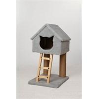 Miss Dublex Tırmalama Ve Oyun Standı Gri+Yaylı Kedi Oyuncağı Hediye!