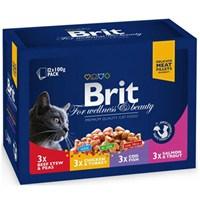 Brıt Premium Pouch Kedi Maması Etli Ve Balıklı Çeşitler 12X100 Gr