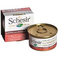 Schesir Cat Naturel Brine Rice 85Gr - Tonbalıklı,Sığır Etlı Ve Pırınclı Kedi Konservesi