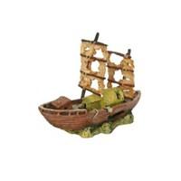 Chicos Yelkenli Batık Gemi Akvaryum Dekorasyonu
