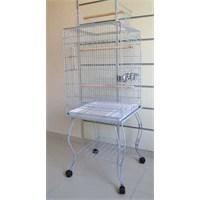 Qh Pet Cage Sehpalı Papağan Kafesi Dövme Beyaz (51X51X129)