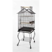 Qh Pet Cage Sehpalı Papağan Kafesi (51X51x139) Siyah
