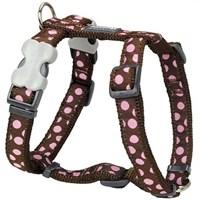 Reddingo Kahverengi Üzeri Pembe Benekli Köpek Göğüs Tasması 25 Mm