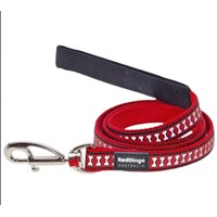 Reddingo Fosforlu Kemik Desenli Kırmızı Uzatma Köpek Tasması 15 Mm