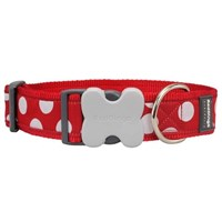 Reddingo Kırmızı Üzeri Beyaz Benekli Dev Kısa Köpek Tasması 40 Mm