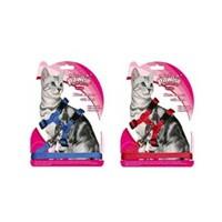 Pawise Kediler İçin Göğüs Tasma Seti Kırmızı Mavi P28001up
