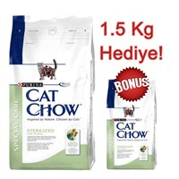 Cat Chow Kısırlaştırılmış Hindili Yetişkin Kuru Kedi Maması 15 Kg + 1.5 Kg