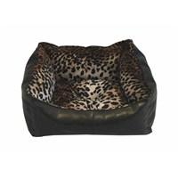Leos Deri Kedi Ve Küçük Irk Köpek Yatağı Leopar Desenli No:1