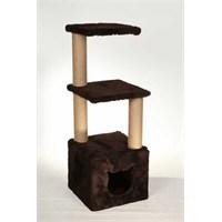 Leo'S Dublex Kedi Tırmalama Tahtası Ve Yuvası Kahverengi 40 X 40 X 110 Cm