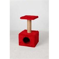 Leo'S Oturaklı Kedi Tırmalama Tahtası Ve Yuvası Kırmızı 35 X 35 X 50 Cm