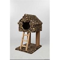 Leo'S Ev Desenli Kedi Tırmalama Tahtası Ve Yuvası Leopar 40 X 50 X 80 Cm