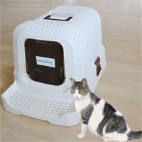 Eurostar Pati Temizleme Basamaklı Örgü Desenli Filtreli Kapalı Kedi Tuvalet Kabı Beyaz
