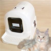 Eurostar Pati Temizleme Basamaklı Filtreli Kapalı Kedi Tuvalet Kabı Beyaz