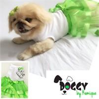 Yeşil Tütülü Köpek Elbisesi - Doggy By Kemique