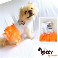 Turuncu Tütülü Köpek Elbisesi - Doggy By Kemique