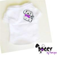 Eflatun Beyaz Köpek Tişört - Doggy By Kemıque