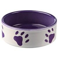 Köpek Porselen Mama ve Su Kabı 0.8 Litre Beyaz Mor