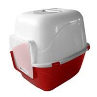 Quipeng Kırmızı Kedi Kapalı Tuvalet Kabı (Karbon Filtreli)