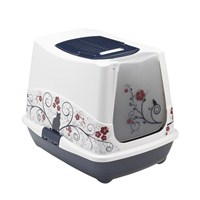 Moderna Trendy Klasik Desenli Kapalı Kedi Tuvalet 50 Cm Lacivert