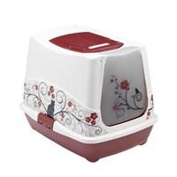 Moderna Trendy Klasik Desenli Kapalı Kedi Tuvalet 50 Cm Bordo