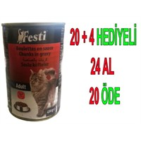 Festi Biftekli Yetişkin Kedi Konservesi 400 Gr 24'Lü