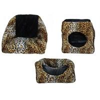 Pet Style Fonksiyonlu Kedi Yuvası Leopar Desenli 40X40x38 Cm