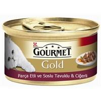 Purina Gourmet Gold Parça Etli ve soslu tavuklu ve ciğerli Konserve Yaş Kedi Maması 85 Gr (1 adet)