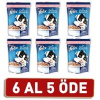 Felix Yetişkin Kediler İçin Somonlu Yaş Kedi Maması Pouch 6 Al 5 Öde! 6 X 100 Gr