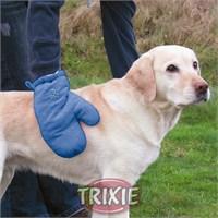 Trixie kedi köpek kurulama eldiveni , 28x18cm , mavi