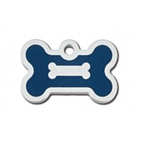 Quick Tag Köpek İsimlik, Kemik, Epoxy Krom, Mavi, Küçük