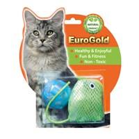 Eurogold Yastık Fare & Kareli Top 2'Li Kedi Oyuncağı