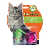 Eurogold Çizgili Top & Simli Fare 2'Li Kedi Oyuncağı