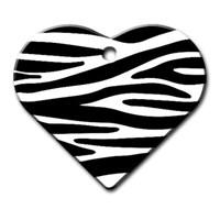 Dalis Pet Tag - Zebra Desenli Geniş Kalp Kedi Köpek Künyesi (İsimlik)