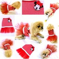 Mınnıe Mouse Tütülü Elbise - Kırmızı