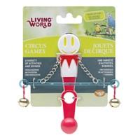 Living World Zilli Denge Çubuğu Kuş Oyuncağı Kırmızı / Beyaz