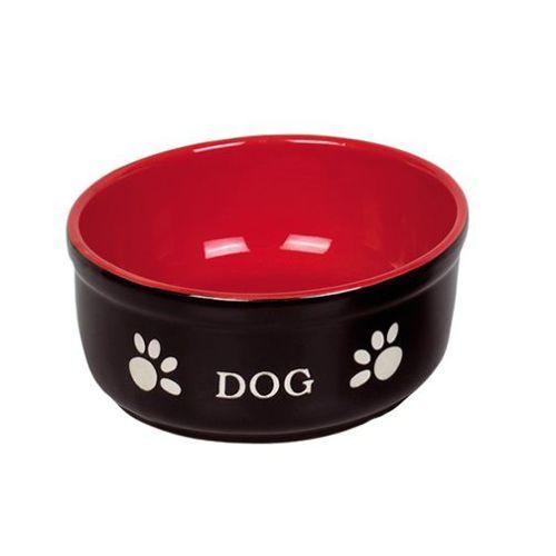 Nobby Pati Desenli Seramik Köpek Mama ve Su Kabı 13,5 X 5 cm Kırmızı