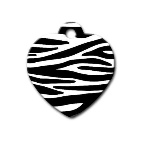 Dalis Pet Tag - Zebra Desenli Kalp Kedi Köpek Künyesi