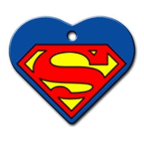 Dalis Pet Tag - Superman Logo Desenli Geniş Kalp Kedi Köpek Künyesi