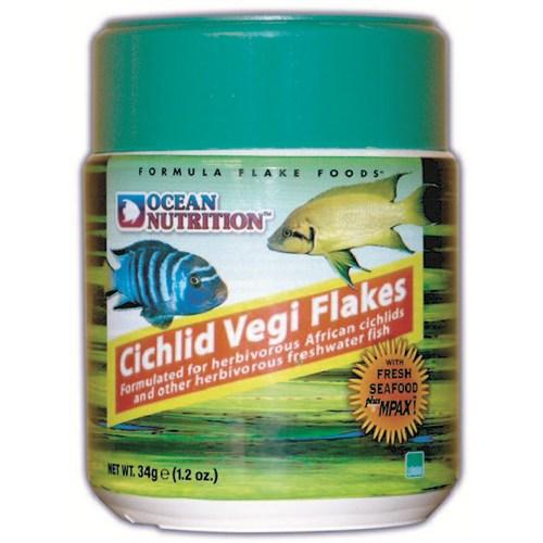Ocean Nutrition Cichlid Vegi Flake - 71 Gr. Çiklit Balıkları için Otçul Pul Yem