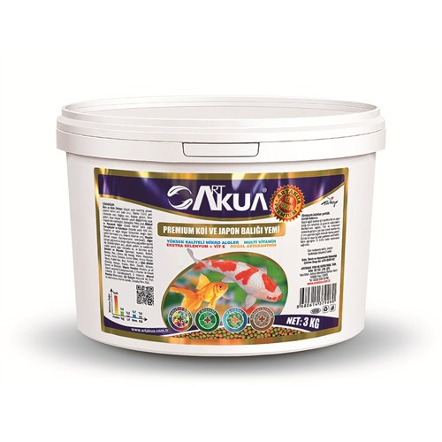 Art Akua Premium Koi Ve Japon Balığı Yemi 3000 Gr (2Mm) Yeni