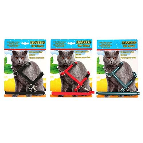Kedi Göğüs Tasması Edozero Takım Kırmızı-Siyah