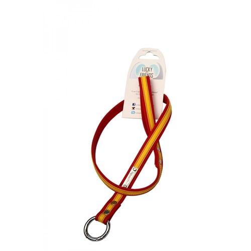 Köpek Gezdirme Kayışı 1,5 Cm Sarı-Kırmızı S