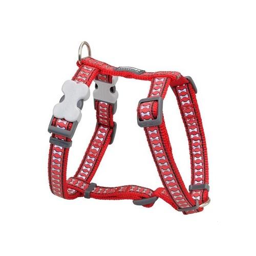 Reddingo Fosforlu Kemik Desenli Kırmızı Köpek Göğüs Tasması 15 Mm