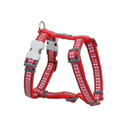 Reddingo Fosforlu Kemik Desenli Kırmızı Köpek Göğüs Tasması 20 Mm