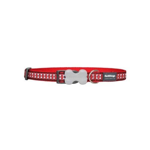 Reddingo Fosforlu Kemik Desen Kırmızı Köpek Boyun Tasması 20 Mm