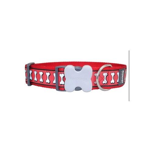 Reddingo Fosforlu Kemik Desenli Kırmızı Dev Kısa Köpek Boyun Tasması 40 Mm