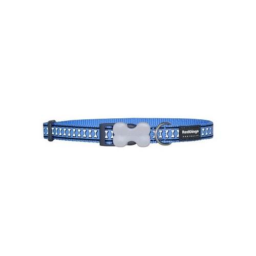 Reddingo Fosforlu Kemik Desenli Mavi Köpek Boyun Tasması 12 Mm