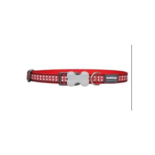 Reddingo Fosforlu Kemik Desenli Kırmızı Köpek Boyun Tasması 12 Mm